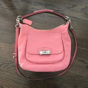 Coach large pink hobo leather purse